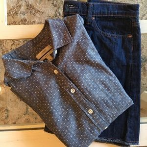 J Crew Perfect Fit Blue Button Down Dot Shirt~2